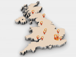 UK branch all locations map